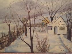 Bicskei Sándor: Tél a kertben - jelzett, olaj, vászon