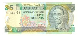 5 dollár 2000 Barbados UNC