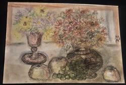 Abonyi Arany Margit(1899-1967): Virágcsendélet gyümölcsökkel.