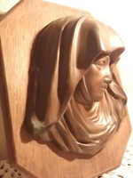 Antik-Mária -réz falikép-dombormű, falapon