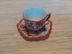 Keleti gésás kávés csésze kistányéral