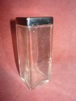 Fém  tetejű szögletesre csiszolt pipere üveg