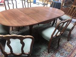 Antik chippendék barok warrings 8 személyes étkezőasztal székekkel