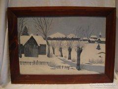 Téli tájkép festmény