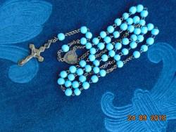 Rózsafüzér  kék üveg gyöngyökkel,réz keresztel-64 cm