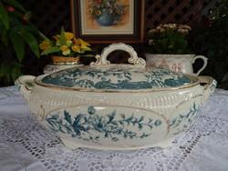 Angol antik fajansz ritka nagyméretű levesestál