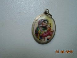 Vallásos porcelán medál fém foglalatban egy klasszikus festmény után
