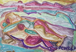 Németh Miklós - 70 x 100 cm olaj, papír