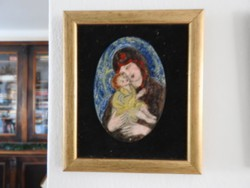 Nagy Gy. Margit : Szűz Mária a kisdeddel II. - tűzzománc kép