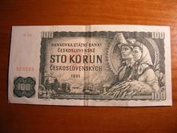 100 csehszlovák korona 1961