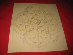Berán  B.Tervrajz   ,  ceruza rajz   / rozetta  terv rajza  /   Berán Béla  ARAD 1891    23 x 25  cm