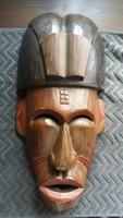 Afrikai törzsi falidísz, fa maszk, férfi fej