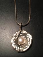 Izraeli ezüst nyaklánc, nyakék gyöngygyel