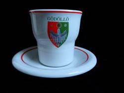 Hollóházi kávés szett Gödöllő címerével