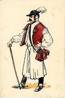 1930-as évek Legény - kézzel festett levelező-lap