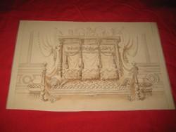Berán B.    1881 Arad  .terv rajz  ,   ülő alkalmatosság , 37x23 cm tus ,akvarell   rajz