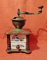 Antik holland fa réz és porcelán kávédaráló