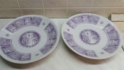 Zsolnay porcelán falitányér, tál, Szász Endre rajzaival 2 db eladó
