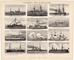Hadihajók I., egyszínű nyomat 1895, német nyelvű, eredeti, páncél, hajó, típus, hadi, háború, régi