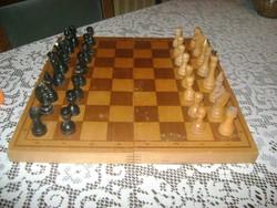 Retro fa dobozos sakk készlet