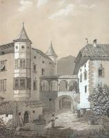 BIEDERMEIER AKVARELL, KISVÁROS, XIX. SZÁZAD