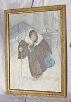 Kassai aláírással, Idős hölgy a hóban olaj festmény