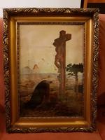 Santha 937 szignós olaj, vászon, gyönyörű színekkel, keret sem kutya! 51x35 + keret