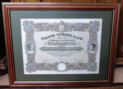 Magyar Nemzeti Bank 5 részvénye 5 x 100 aranykoronáról/500 arany korona/Bp 1924 keretezve
