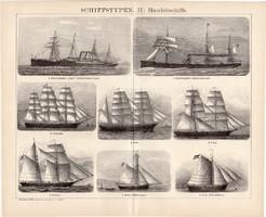 Kerekedelmi hajók II., egyszínű nyomat 1895, német nyelvű, eredeti, hajó, típus, gőz, vitorlás, régi