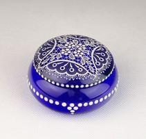 0U626 Jelzett kék Parádi üveg bonbonier