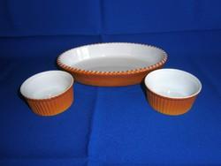 Különleges és ritka Bavaria 3 darabos porcelán sütőtál vagy tálaló készlet
