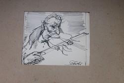 Szánthó Imre (1925 - 1998) :Hegedűs. Tus papír.