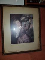 Jó régi holland paszpartus kép mesterjellel, szép keretben, üveg alatt