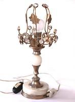 Szecessziós lámpa (ónix, kristály és sárgaréz)