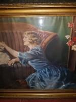 Szecessziós stílusú kép, gyönyörű keretben, nyomat, vagy pasztell, 129x63, óriási!