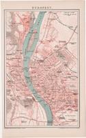 Budapest térkép 1893, színes, német nyelvű, Brockhaus, Magyarország, főváros, Buda, Pest, régi