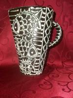Gorka Géza retro füles kerámia váza , kancsó halas mintával