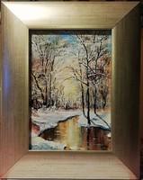 Czinóber - Téli romantika ( 30 x 21 cm, olaj, gyönyörű keretben )