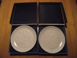 2 db Herendi litofán (átvilágítós) tányér, eredeti dobozában.