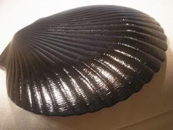 N19 kagyló forma bordázott  üveg vastag nagy tortatál vagy kínáló szép állapotban 27.5 cm