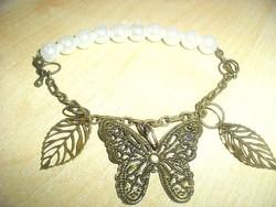 Pillangó hófehér tenyésztett Gyöngy karkötő
