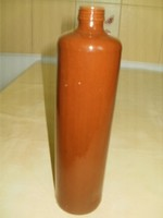 Kerámia mázas barna számozott butélia kerek  váza 28x7 cm. hibátlan