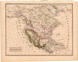 Észak - Amerika térkép 1840, német nyelvű, atlasz, eredeti, Pesth, 23 x 29 cm, Mexikó, Kanada, közép