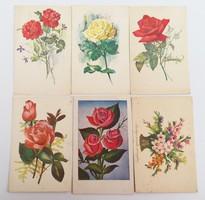 Régi rózsás virágos képeslap 6 db