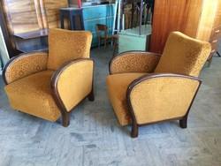 Art deco régi kárpitozott teleoldalú karfás fotel