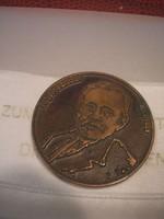 N19 Rejtő Sándor Gimn +szakiskola Győr 1853-1928 bronz vastag emlék plakett 4 cm-es