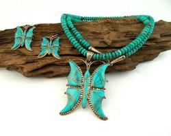 Gyonyoru antik  ezust/turkiz ekszer szett