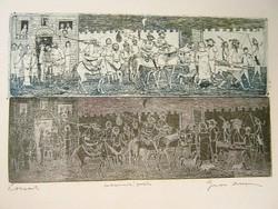 Gross Arnold - Lovasok 14 x 24 cm fakszimile, keretezve