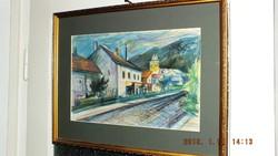 Perlrott Csaba Vilmos,Szentendrei utca c. alkotása, 27x40-s pasztell karton