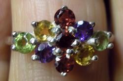 925 ezüst gyűrű vegyes kövekkel 18,3/57,5 mm
